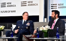 Air Force Chief of Staff Gen. David L. Goldfein discusses the future of warfare with Kevin Baron, from Defense One media outlet, at theFuture of War conference March 21, 2017, in Washington, D.C. (U.S. Air Force photo/Scott M. Ash)