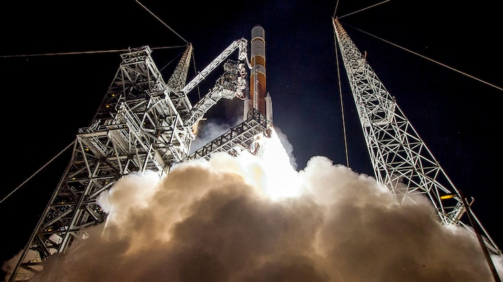 The Air Force launches the ninth Boeing-built Wideband Global SATCOM satellite at Cape Canaveral Air Force Station, Fla., March 18, 2017. Such satellites play an integral part in military operations. Courtesy photo by United Launch Alliance