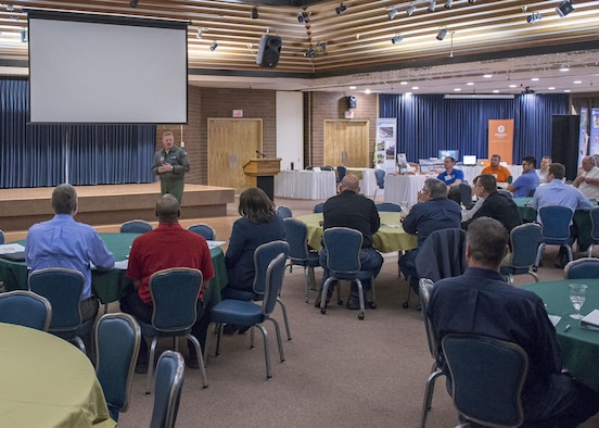Col. Brian P. McCarthy, 366th Operations Group commander, addresses small business owners at the vendor fair, March 16, 2017, at Mountain Home Air Force Base, Idaho. Those in attendance were also briefed by representatives from the Small Business Administration and Idaho Procurement Technical Assistance Center.(U.S. Air Force photo by Airman Jeremy D. Wolff/Released)