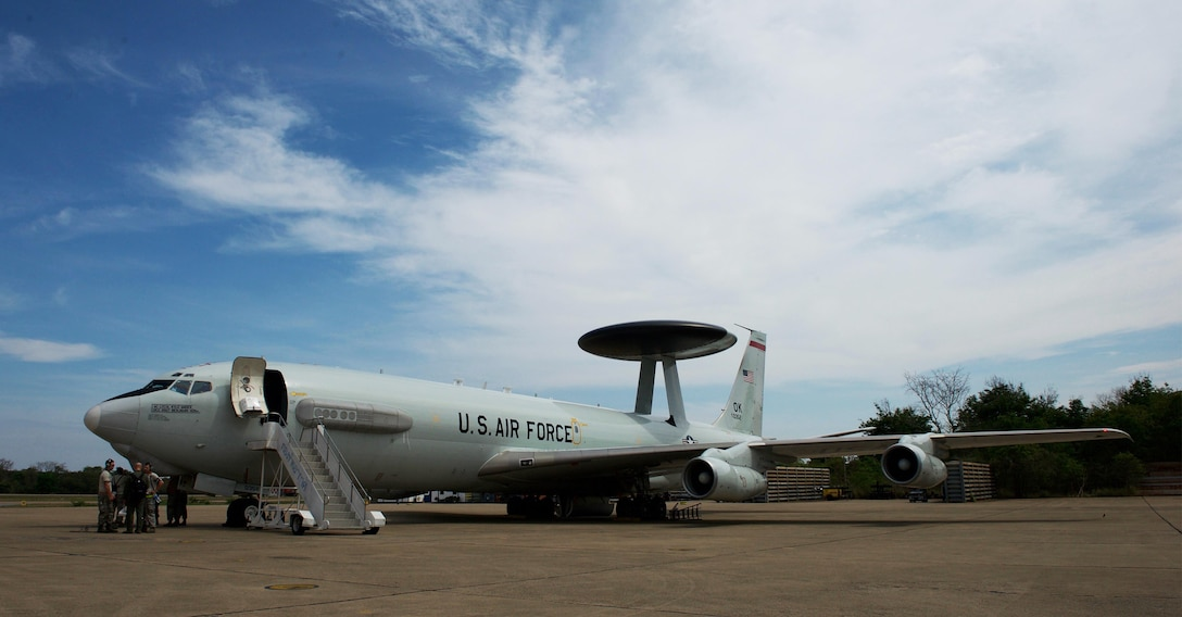A U.S. Air Force E-3 Sentry Airborne Warning and Control System (AWACS) aircraft assigned to the 961st Airborne Air Control Squadron (AACS) prepares for a mission during exercise Cope Tiger 2017 at Korat Royal Thai Air Force Base, Thailand, March 21, 2017. The 961st AACS is a combat-ready E-3 squadron providing airborne command and control, long-range surveillance, detection and identification information, further maximizing interoperability between the U.S., Thai and Singapore militaries which is essential in tackling non-traditional security challenges such as maritime security and terrorism. (U.S. Air Force photo by Staff Sgt. Kamaile Chan)