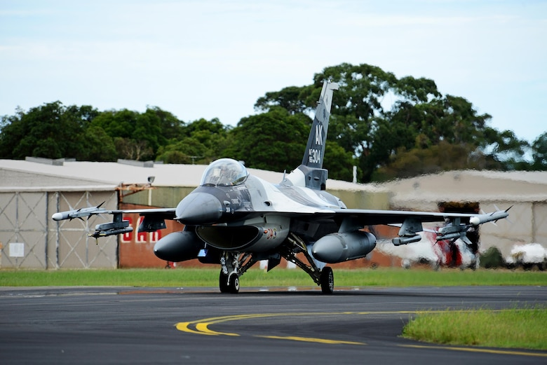 A U.S. Air Force F-16 Fighting Falcon taxis at Royal Australian Air Force Base Williamtown, during Exercise Diamond Shield 2017 in New South Wales, Australia, March 21, 2017. (U.S. Air Force photo by Tech. Sgt. Steven R. Doty)