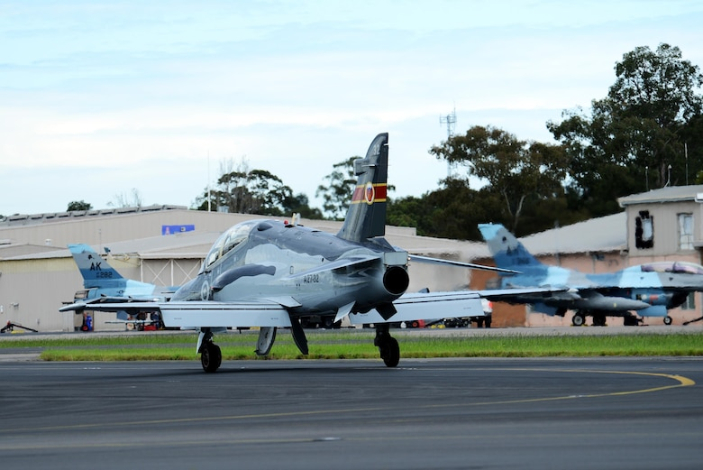 A Royal Australian Air Force BAE Hawk trainer taxis at RAAF Williamtown, during Exercise Diamond Shield 2017 in New South Wales, Australia, March 21, 2017. (U.S. Air Force photo by Tech. Sgt. Steven R. Doty)