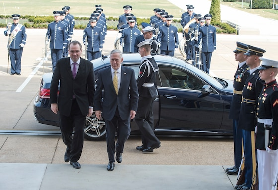 The Ceremonial Brass supports Secretary of Defense Jim Mattis hosting an enhanced honor cordon for Finland's Minister of Defense Jussi Niinisto at the Pentagon in Arlington, Virginia, March 21, 2016. (DOD photos/TSgt. Brigitte N. Brantley/released)