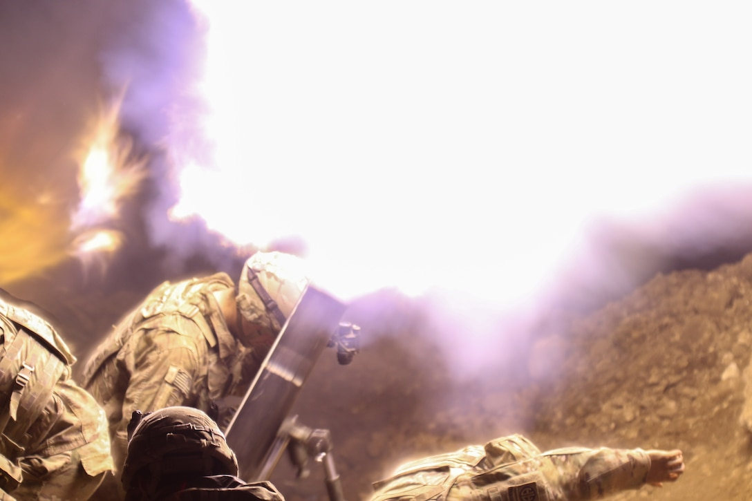 U.S. Army mortarmen, deployed in support of Combined Joint Task Force-Operation Inherent Resolve and assigned to 2nd Brigade Combat Team, 82nd Airborne Division, fire mortars in support of 9th Iraqi Army Division near Al Tarab, Iraq, during the offensive to liberate West Mosul from ISIS, March 19, 2017. The 2nd BCT, 82nd Abn. Div., enables their Iraqi security forces partners through the advise and assist mission, contributing planning, intelligence collection and analysis, force protection, and precision fires to achieve the military defeat of ISIS. CJTF-OIR is the global Coalition to defeat ISIS in Iraq and Syria. (U.S. Army photo by Staff Sgt. Jason Hull)