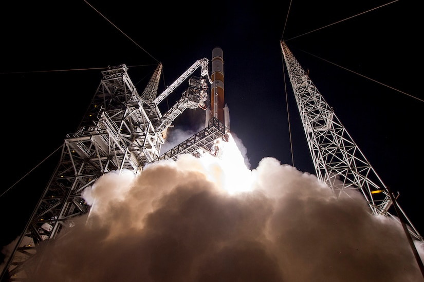 The Air Force launches the ninth Wideband Global Satellite Communications satellite aboard a United Launch Alliance Delta IV Evolved Expendable Launch Vehicle from Cape Canaveral Air Force Station, Florida, March 18, 2017. The satellites play an integral part in the strategic and tactical coordination of military operations. Photo courtesy of United Launch Alliance