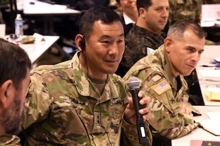 Maj. Gen. K.K. Chinn, commanding general, U.S. Army South, speaks at the 10th annual Central American Regional Leaders Conference that began March 21 on Fort Sam Houston, Texas. The conference is designed for Central American army officers and police to gather and discuss ideas on how to counter regional threats. (US Army South photo)