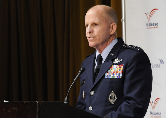 "Air Force Vice Chief of Staff Gen. Stephen Wilson, speaks during the eighth annual McAleese/Credit Suisse ""Defense Programs"" conference March 22, 2017, in Washington, D.C. During the conference, Wilson discussed readiness, force structure and modernization of the Air Force. (U.S. Air Force photo/Staff Sgt. Jannelle McRae)"