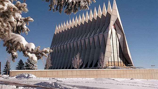 A project to restore the Cadet Chapel is scheduled to begin in the summer of 2018 at the U.S. Air Force Academy. The project is expected to last four years. (U.S. Air Force photo).