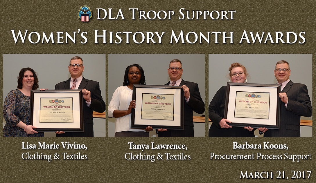 Richard Ellis, DLA Troop Support deputy director, right, presents plaques to three employees in honor of their contributions to the advancement of women during the Women's History Month Program March 21. From left to right are: Lisa Marie Vivino, Clothing and Textiles, supervisor/manager of the year; Tanya Lawrence, Clothing and Textiles, non-supervisory female employee in grade GS-11 and above; and Barbara Koons, Procurement Process Support, non-supervisor female employee in grades GS-9 and below.