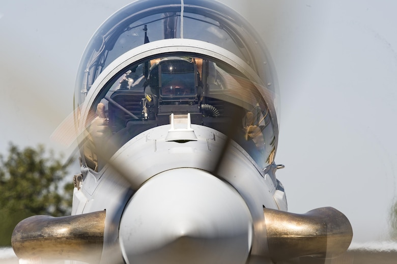 A Lebanese A-29 Super Tucano student pilot from the 81st Fighter Squadron, conducts the first 'in-seat' training sortie, March 22, 2017, at Moody Air Force Base, Ga. The program began in March 2017 and is designed to ensure the Lebanon air force receives the support and training needed to safely and effectively employ the A-29 Aircraft. (U.S. Air Force photo by Senior Airman Ceaira Young)