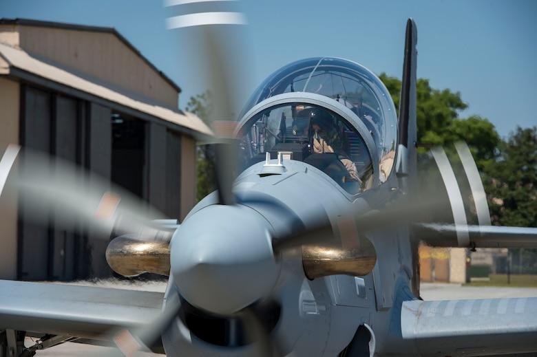 "A Lebanese A-29 Super Tucano student pilot and a U.S. instructor pilot from the 81st Fighter Squadron, conduct the first ""in-seat"" training sortie, March 22, 2017, at Moody Air Force Base, Ga. The program began in March 2017 and is designed to ensure the Lebanon air force receives the support and training needed to safely and effectively employ the A-29 Aircraft. (U.S. Air Force photo by Tech. Sgt. Zachary Wolf)"