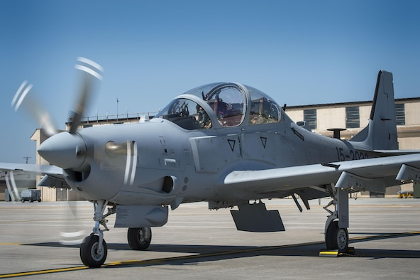 """A Lebanese A-29 Super Tucano student pilot and a U.S. instructor pilot from the 81st Fighter Squadron, conduct the first """"in-seat"""" training sortie, March 22, 2017, at Moody Air Force Base, Ga. The program began in March 2017 and is designed to ensure the Lebanon air force receives the support and training needed to safely and effectively employ the A-29 Aircraft. (U.S. Air Force photo by Tech. Sgt. Zachary Wolf)"""