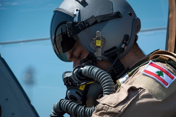 """A Lebanese A-29 Super Tucano student pilot from the 81st Fighter Squadron, conducts the first """"in-seat"""" training sortie, March 22, 2017, at Moody Air Force Base, Ga. The program began in March 2017 and is designed to ensure the Lebanon air force receives the support and training needed to safely and effectively employ the A-29 Aircraft. (U.S. Air Force photo by Tech. Sgt. Zachary Wolf)"""