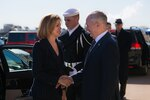Defense Secretary Jim Mattis greets Spanish Minister of Defense Maria Delores de Cospedal before a meeting at the Pentagon in Washington, D.C., March 23, 2017. DoD photo by Army Sgt. Amber I. Smith