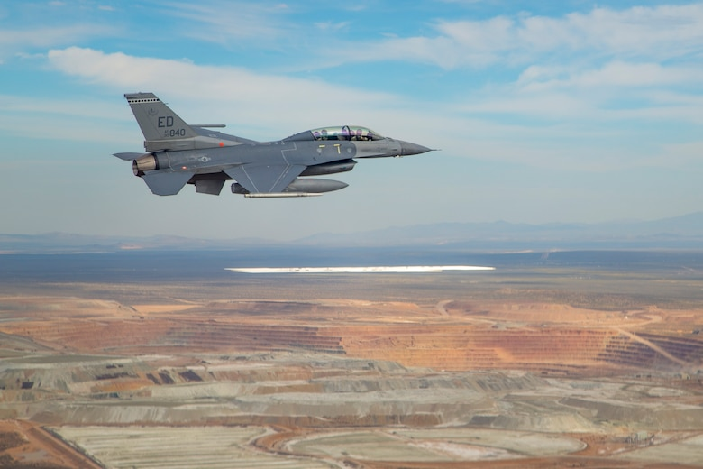 This F-16 Fighting Falcon from the 416th Flight Test Squadron served as a target for another F-16, which was testing the fifth-generation APG-83A radar March 20. (U.S. Air Force photo by Christopher Okula)