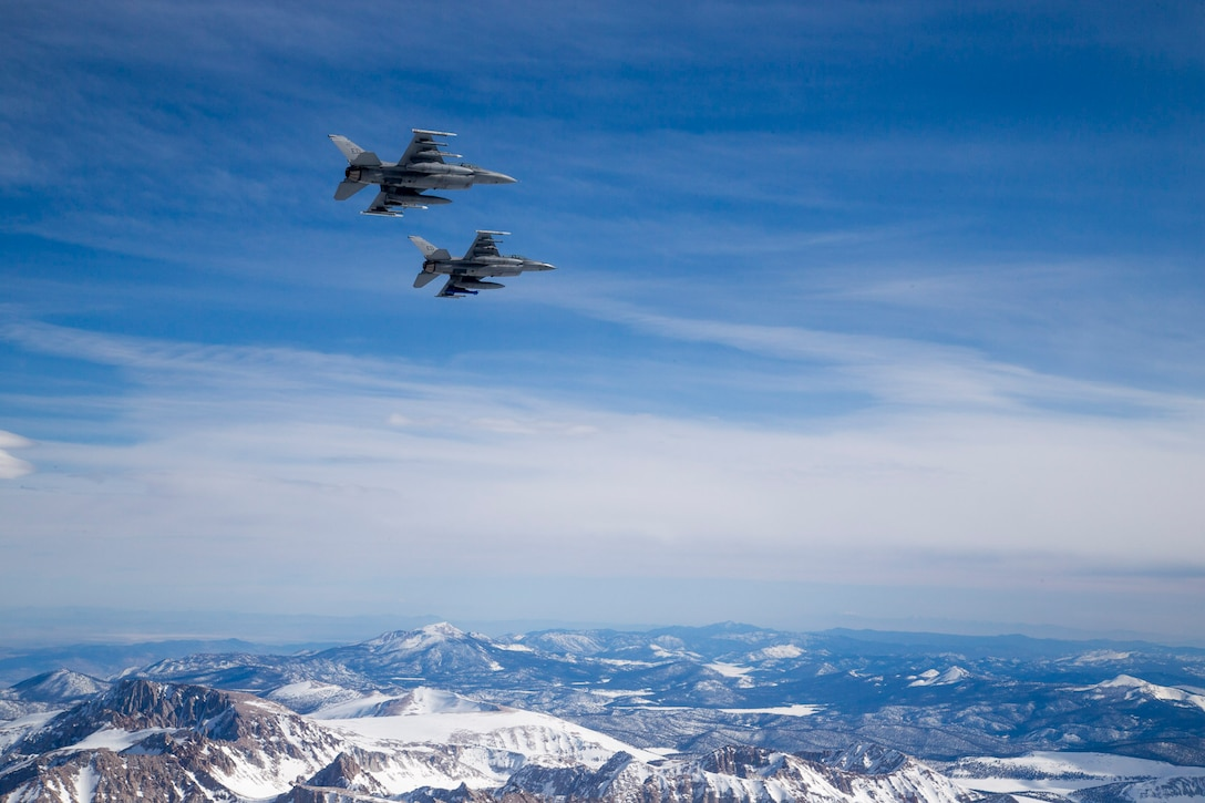 Two F-16 Fighting Falcons from the 416th Flight Test Squadron during a test sortie March 20. (U.S. Air Force photo by Christopher Okula)
