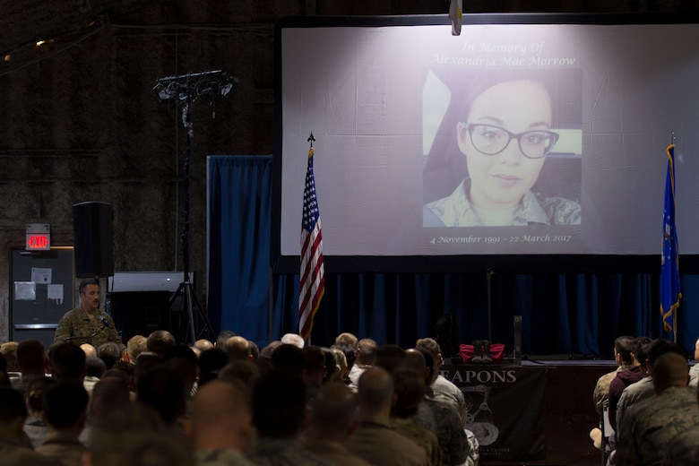 Col. Clinton Eichelberger, 332nd Air Expeditionary Wing commander, speaks during a fallen warrior memorial ceremony Mar. 23, 2017, in Southwest Asia. The commander updated the Airmen on the status of Staff Sgt. Alexandria Morrow, 332nd Expeditionary Maintenance Squadron weapons load crew member, who died from injuries sustained while performing work duties in support of Operation Inherent Resolve. (U.S. Air Force photo by Staff Sgt. Eboni Reams)