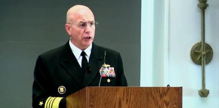 AUSTIN, Texas (March 23, 2017) -- Navy Adm. Kurt W. Tidd, commander of U.S. Southern Command, speaks during the Intelligence in Defense of the Homeland at the University of Texas. (Screenshot of speech broadcast)