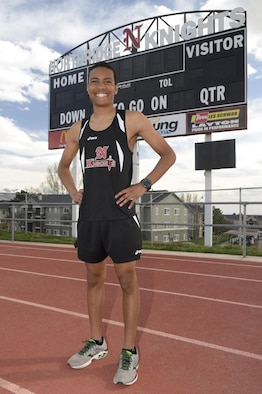 Jamal Braxton poses on the track at Northridge High School in Layton, Utah, March 21. Braxton recently was named the 2017 Operation Homefront Air Force Military Child of the Year. (Air Force photo/Todd Cromar)