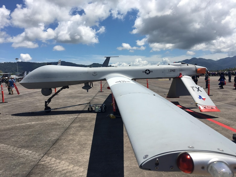 A U.S. Air Force MQ-1B Predator remote piloted aircraft with the 147th Air Reconnaissance Wing of the Texas Air National Guard is on display at the Langkawi International Maritime and Aerospace Expedition (LIMA) 2017, in Sirat, Malaysia, March 21, 2017. Events such as LIMA contribute to increased interoperability and security throughout the Indo-Asia-Pacific region. LIMA presents an opportunity for participants to focus on strengthening military-to-military ties. (U.S. Air Force photo by Capt Jessica Clark)