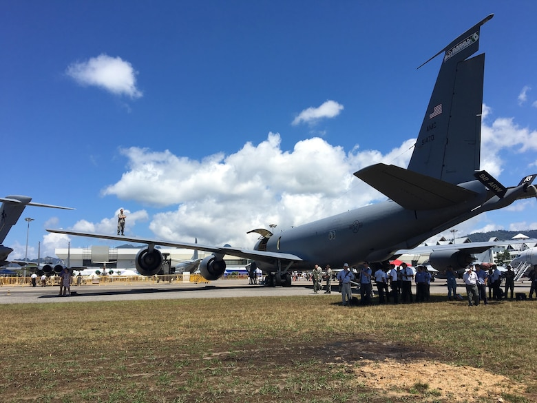 A U.S. Air Force KC-135 Stratotanker refueler with the 141st Air Refueling Wing of the Washington Air National Guard from Fairchild Air Force Base, Washington, is displayed during the Langkawi International Maritime and Aerospace Exhibition (LIMA) 2017 in Sirat, Malaysia, March 21, 2017. Events such as LIMA contribute to increased interoperability and security throughout the Indo-Asia-Pacific region. LIMA presents an opportunity for participants to focus on strengthening military-to-military ties. (U.S. Air Force photo by Capt Jessica Clark)