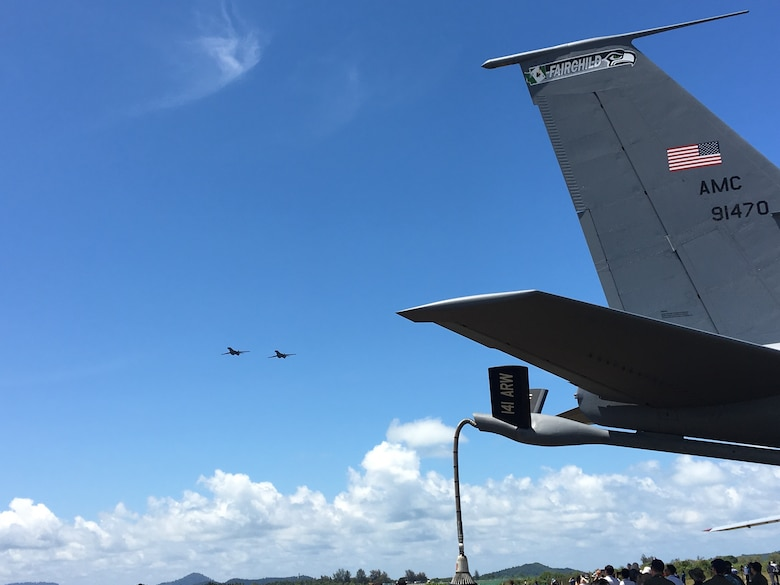 Two U.S. Air Force B-1B Lancer bomber aircraft with the 7th Bomb Wing, 9th Expeditionary Bomb Squadron from Dyess Air Force Base, Texas, currently deployed to Andersen Air Force Base in Guam, conduct a flyover during Langkawi International Maritime and Aerospace Exhibition (LIMA) 2017, Langkawi Island, Malaysia, March 21, 2017. LIMA is the premier aerospace and maritime exhibition in Malaysia. The biennial event helps grow military-to-military relationship between participants. The B-1 is a highly versatile, multi-mission weapon system that can rapidly deliver massive quantities of precision and non-precision weapons against any adversary. The B-1 is a key component to improving both joint service and ally interoperability. The rotation of this aircraft supports U.S. Pacific Command's Continuous Bomber Presence, and is specifically designed to demonstrate the commitment of the U.S. to the Indo-Asia-Pacific region and regional security. (U.S. Air Force photo by Capt. Jessica Clark)