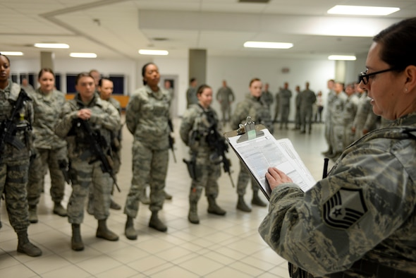 Master Sgt. Jessica Stoeger, a flight chief assigned to the 28th Security Forces Squadron, takes role call during evening guard mount inside the 28th Security Forces Squadron March 21, 2017 at Ellsworth Air Force Base, S.D. Stoeger helped coordinate an all-female Security Forces flight, filling every position from desk sergeant to patrol and gate security with a female defender. (U.S. Air Force photo by Airman 1st Class Randahl J. Jenson)