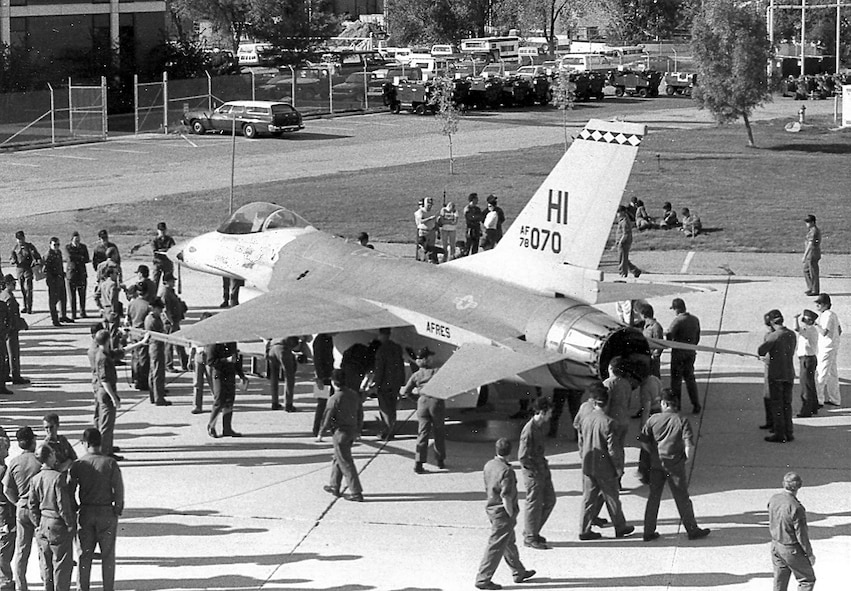 One of the first F-16 Fighting Falcon aircraft arrives at Hill Air Force Base. (Courtesy photo)