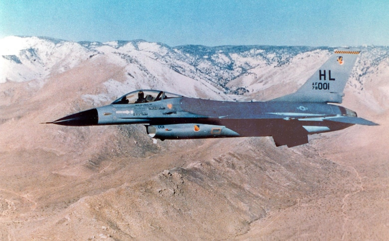 An early combat-coded F-16 Fighting Falcon aircraft in flight. (Courtesy photo)