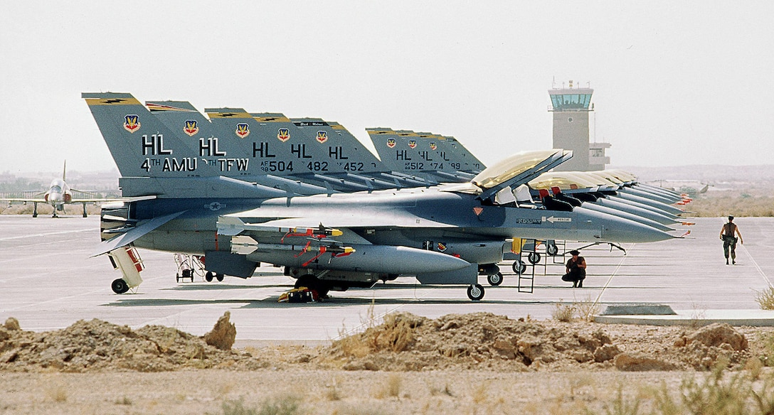 F-16C Fighting Falcon aircraft of the 388th Tactical Fighter Wing line an airfield during Operation Desert Shield. (U.S. Air Force photo)