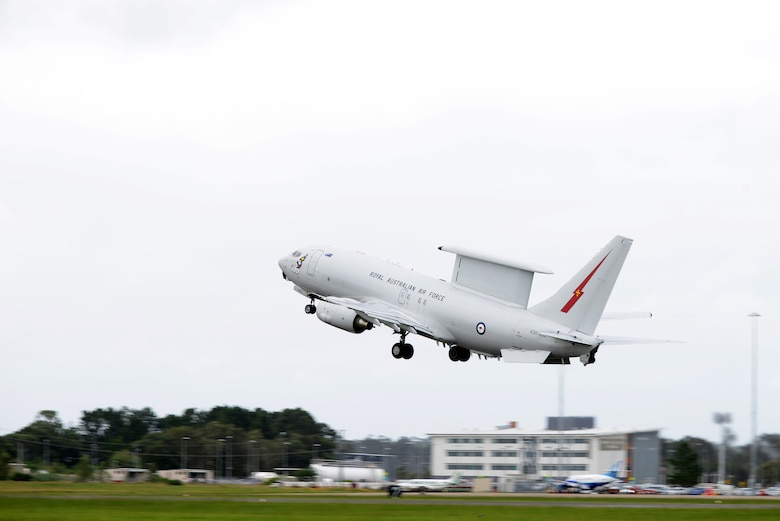A Royal Australian Air Force AP-3C Orion takes off at RAAF Williamtown, during Exercise Diamond Shield 2017 in New South Wales, Australia, March 23, 2017. The RAAF AP-3C is a critical component during the exercise as it is fitted with a variety of sensors, including digital multi-mode radar, electronic support measures, electro-optics detectors, magnetic anomaly detectors, friend or foe identification systems and acoustic detectors. (U.S. Air Force photo by Tech. Sgt. Steven R. Doty)
