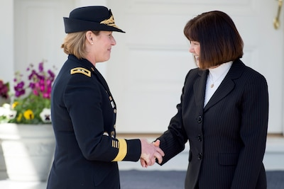 Second Lady Karen Pence, right, welcomes the Army's chief legislative liaison, Maj. Gen. Laura Richardson, to the vice president's residence, in Washington, March 23, 2017. Pence gathered service members from the five armed services for a Women's History Month celebration at One Observatory Circle. DoD photo by EJ Hersom