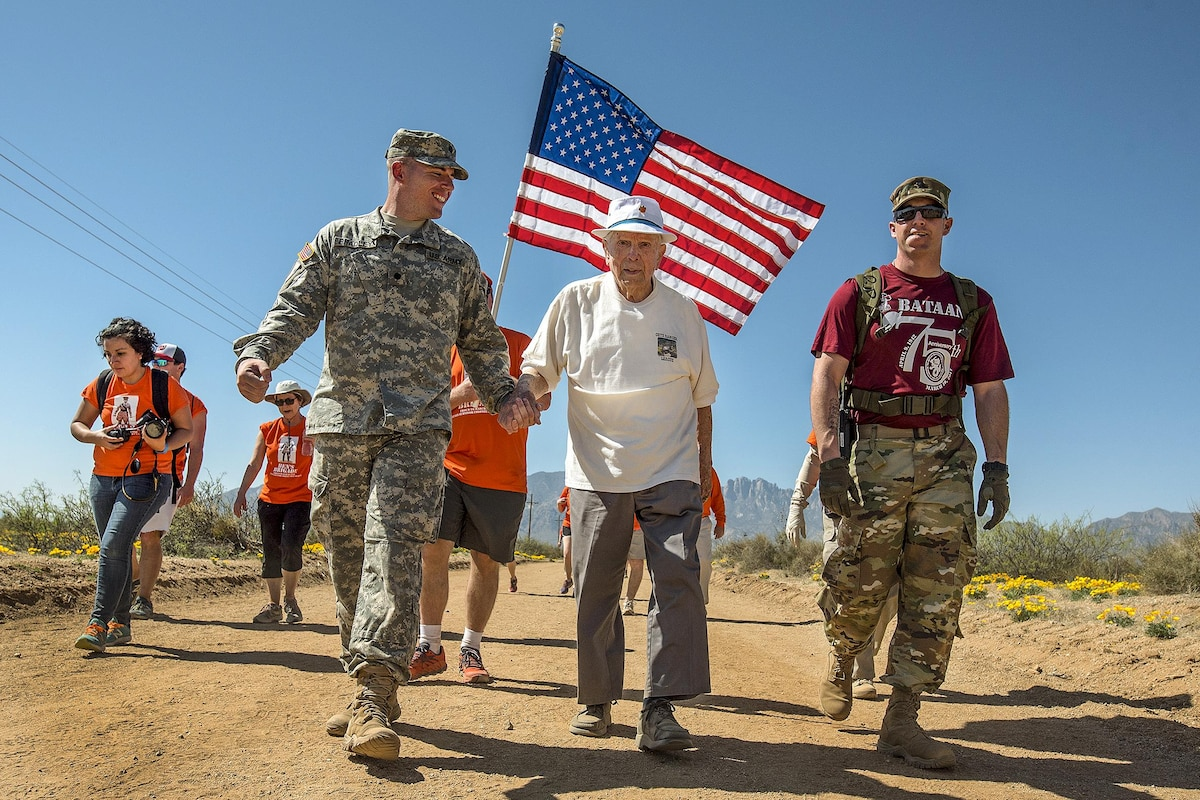 A 99-year-old retired soldier walks in the annual Bataan Memorial Death March.