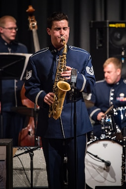 The newest member of the Airmen of Note is out in front of the group for a solo at Damascus High School on March 16. TSgt Cemprola had a prestigious career as both a professor and performer prior to joining the Air Force. (US Air Force photos/CMSgt Kamholz/released)