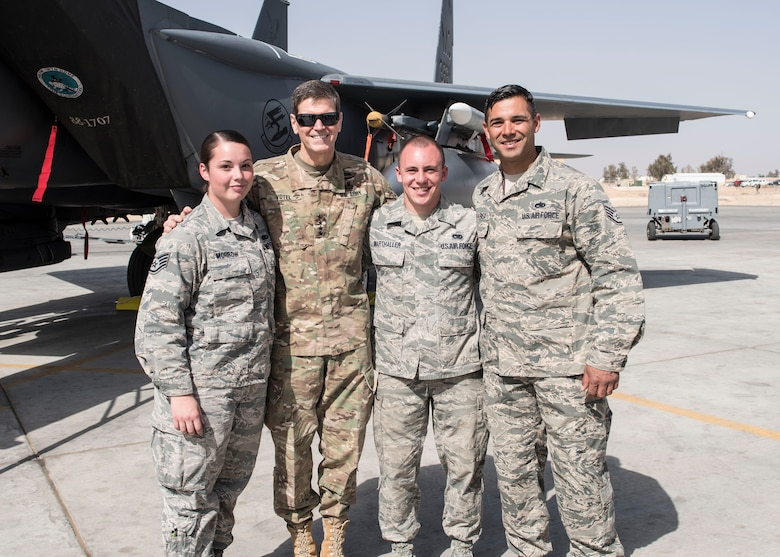 (From the left) Staff Sgt. Alexandria Morrow, 332nd Air Expeditionary Maintenance Squadron weapons load crew chief, Gen. Joseph L. Votel, United States Central Command commander, Senior Airman Lucas Marthaller, 332nd EMXS, and Staff Sgt. Carlos Olivarez, 332nd EMXS pose for a photo Feb. 23, 2017, in Southwest Asia. Morrow died from injuries sustained while performing work duties in support of Operation Inherent Resolve. (U.S. Air Force photo by Staff Sgt. Eboni Reams)