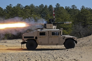 An Army National Guardsman fires a Humvee-mounted BGM-71 anti-tank missile during training at Joint Base McGuire-Dix-Lakehurst, N.J., March 23, 2017. Air National Guard photo by Master Sgt. Matt Hecht