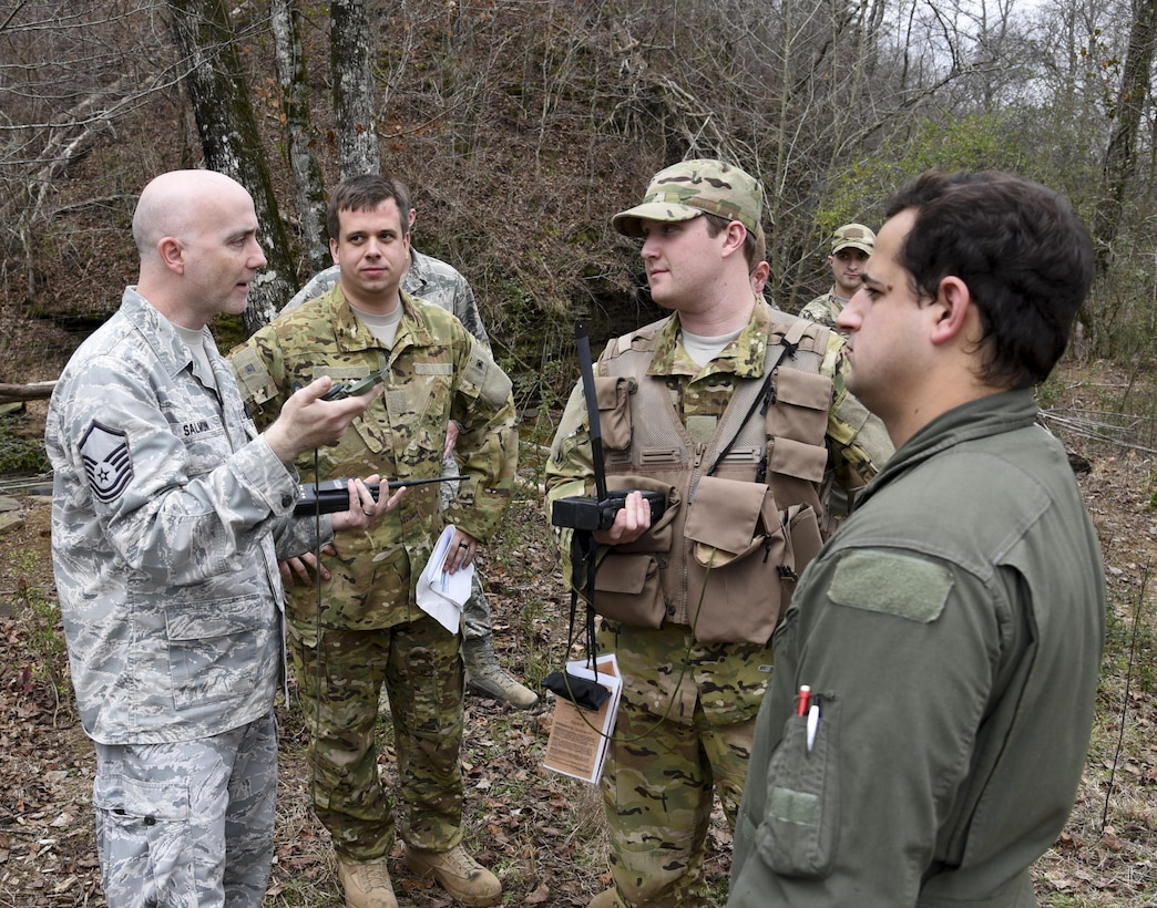 Airmen from the 117th Air Refueling Wing conduct survival training in Hanceville, Ala., Feb. 12, 2017.  The survival course instructed Airmen how to navigate unknown terrain in order to find a safe landing zone to be extracted by helicopter.  The training is mandatory every three years to maintain mission readiness.  (U.S. Air National Guard photo by Staff Sgt. Jeremy Farson)