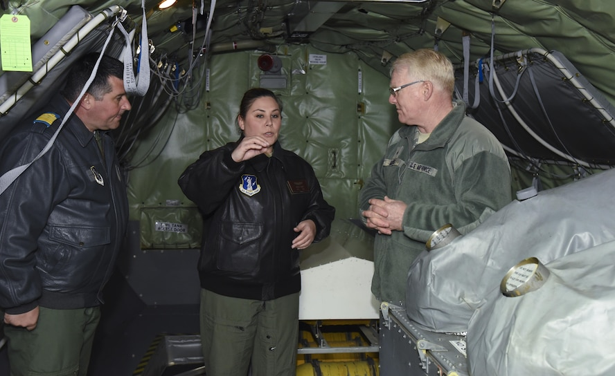 Brigadier General Paul Jacobs, Assistant Adjutant General - Air, Joint Force Headquarters, Alabama Air National Guard and Col. Leonard Baraboi, Romanian Air Force receives a briefing from Staff Sergeant Rachel Sharp, boom operator 117th Air Refueling Wing  Birmingham, Alabama March 12, 2017. (Air National Guard photo by Senior Airman Wes Jones)