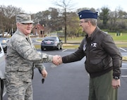 Colonel Scott Grant, 117th Air Refueling Wing Vice Commander, Birmingham, AL, greets Brigadier General Paul Jacobs, Assistant Adjutant General - Air, Joint Force Headquarters, Alabama Air National Gaurd, March 12, 2017. General Jacobs traveled to the 117 ARW as part of a Familiarization visit. (Air National Guard photo by Senior Airman Wes Jones)