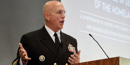 AUSTIN, Texas (March 23, 2017) -- Navy Adm. Kurt W. Tidd, commander of U.S. Southern Command, speaks during the Intelligence in Defense of the Homeland at the University of Texas. (Photo courtesy of Univ. of Texas Intelligence Studies Project)