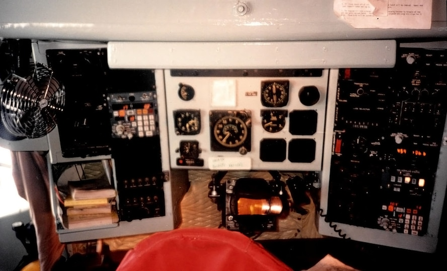 Dials, switches and buttons are displayed on a navigator station onboard a KC-135 Stratotanker in 1995 on RAF Mildenhall, England. Then-Capt. Greg Teal arrived at the 100th Air Refueling Wing one year after its inception, as a navigator and as part of the 3rd Air Force standardization and evaluation team. One of his sons, Patrick Teal, is now a captain and pilot in the U.S. Air Force and is currently stationed at RAF Mildenhall. (Courtesy photo