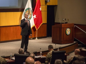 Mr. Phil Maxwell, USCENTCOM Chief Plans, Policy and Programs discusses security cooperation planning guidance during the 2017 USCENTCOM Security Cooperation Round Table (CSCRT). The 3 day event consisted of presentations, planning sessions and Near East and South Asia (NESA) Center-facilitated panel discussions. (Photo by Tom Gagnier)
