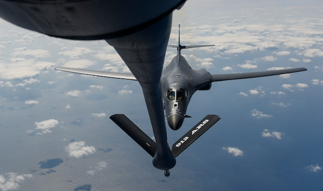 A B-1B Lancer assigned to the 9th Expeditionary Bomb Squadron, deployed to Andersen Air Force Base, Guam, receives fuel from a KC-135 Stratotanker over the Pacific Ocean March 10, 2017. The B-1B's are deployed to Andersen AFB as part of U.S. Pacific Command's  continuous bomber presence operations. This forward deployed presence demonstrates continuing U.S. commitment to stability and security in the Indo-Asia-Pacific region. (U.S. Air Force photo/ Airman 1st Class Christopher E. Quail)
