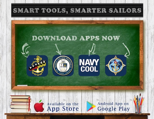 """Smart Tools, Smarter Sailors"" is an information graphic created to provide educational tools and applications available to Sailors for download. The mobile applications shown are final multiple score (FMS), credentialing opportunities online (Navy COOL), center for language, regional expertise and culture (CLREC) and navy college program (NCP)."