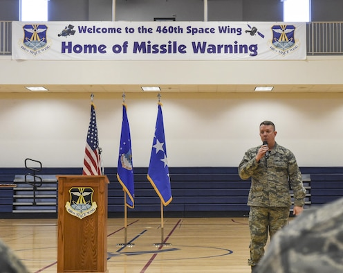 Chief Master Sgt. Brendan Criswell, command chief of Air Force Space Command, discusses the improvements to Enlisted Professional Development during a commander's call March 17, 2017, at Buckley Air Force Base, Colo. Buckley boasts America's Premier Space Wing, installation support to 95 multiservice and multinational units, a population of over 94,000 Team Buckley members, and a mission that is critical to the nation's safety. (U.S. Air Force photo by Tech. Sgt. Nicholas Rau)