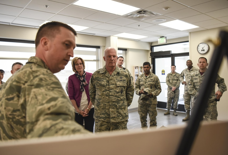 Col. Matthew Hanson, 460th Medical Group commander, left, outlined the future medical facilities as they move on base to better support Team Buckley to Gen. Jay Raymond, commander of Air Force Space Command, March 17, 2017, at Buckley Air Force Base, Colo. Buckley boasts America's Premier Space Wing, installation support to 95 multiservice and multinational units, a population of over 94,000 Team Buckley members, and a mission that is critical to the nation's safety. (U.S. Air Force photo by Airman Holden Faul)