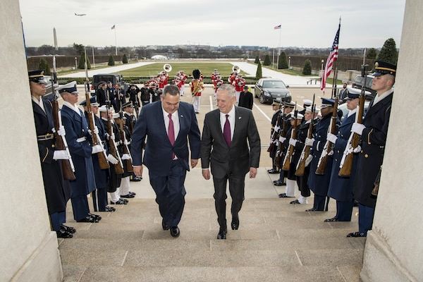 Defense Secretary Jim Mattis hosts an honor cordon for Greek Defense Minister Panos Kammenos at the Pentagon, March 24, 2017.  The two defense leaders met to discuss matters of mutual importance. DoD photo by Air Force Staff Sgt. Jette Carr