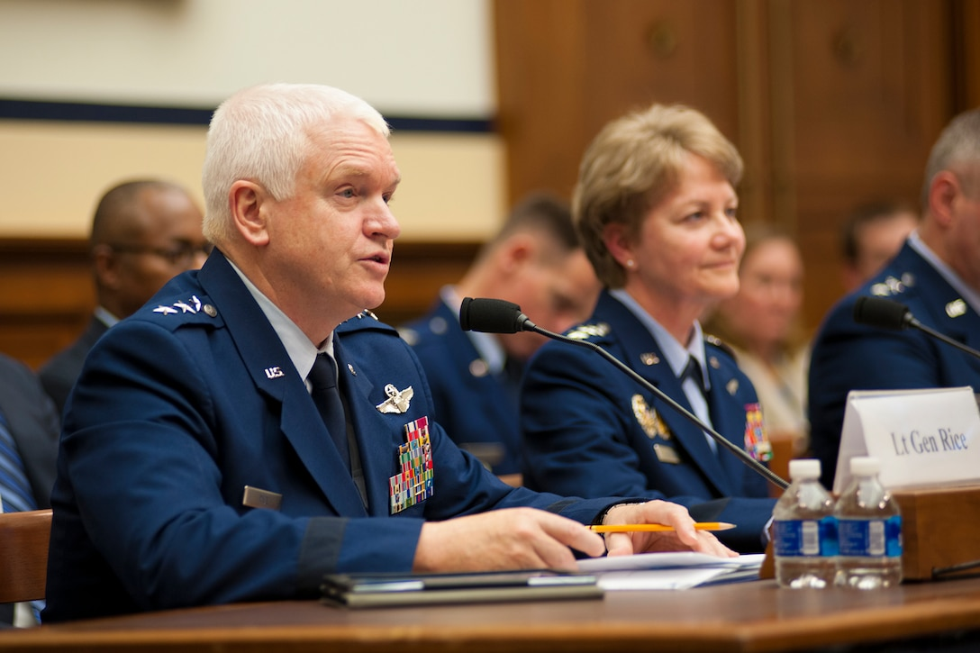 Lt. Gen. L. Scott Rice, director of the Air National Guard, discusses his top priorities for the Air National Guard during a House Armed Services Committee hearing on Capitol Hill, March 22, 2017. During the event, Rice, alongside leaders from the active Air Force and Air Force Reserve, discussed issues facing the Air Force with members of Congress. (U.S. Air Force photo/Tech. Sgt. Kat Justen)