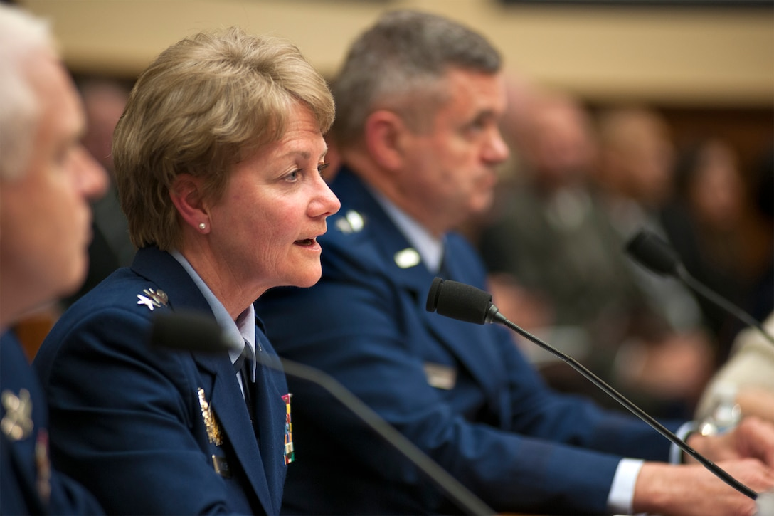 Lt. Gen. Maryanne Miller, the chief of Air Force Reserve and commander of Air Force Reserve Command, discusses her top priorities for the Air Force Reserve during a House Armed Services Committee hearing on Capitol Hill, March 22, 2017. During the event, Miller, alongside leaders from the active Air Force and Air National Guard, discussed issues facing the Air Force with members of Congress. (U.S. Air Force photo/Tech. Sgt. Kat Justen)