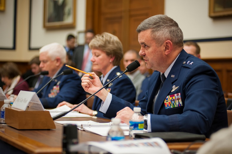 Maj. Gen. Scott D. West, the director of current operations and deputy chief of staff for operations, Headquarters U.S. Air Force, discusses his top priorities for the Air Force during a House Armed Services Committee hearing on Capitol Hill, March 22, 2017. During the event, West, alongside leaders from the Air Force Reserve and Air National Guard, discussed issues facing the Air Force with members of Congress. (U.S. Air Force photo/Tech. Sgt. Kat Justen)
